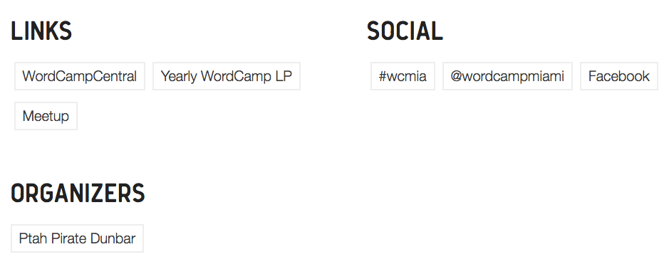 Single Event Links, Social, and Organizers Example