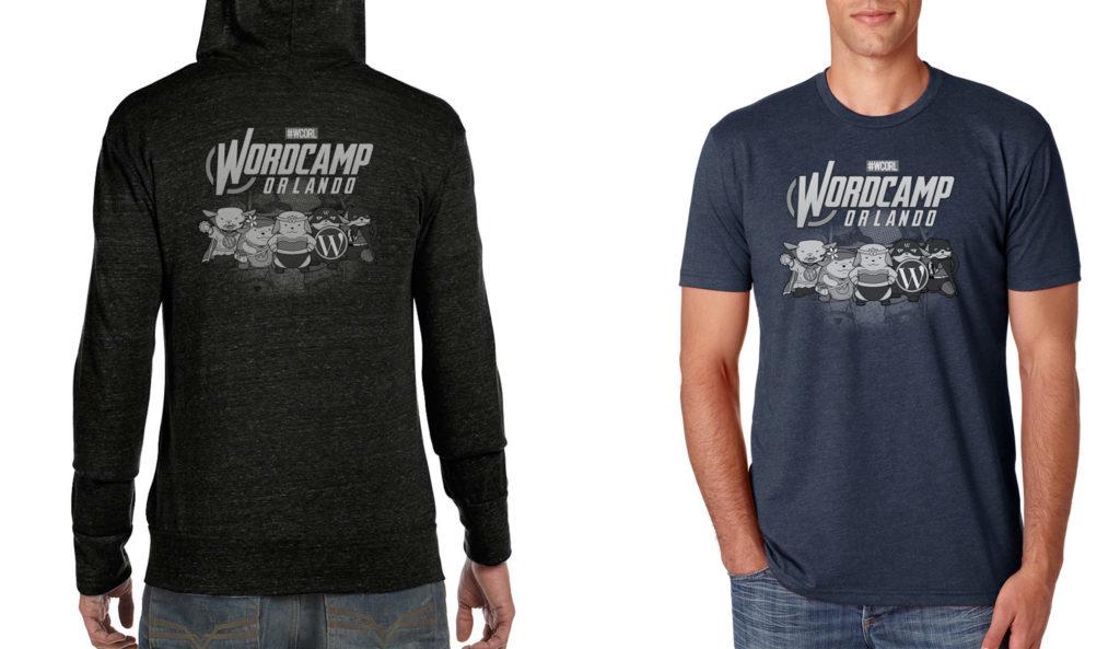 Mock up of Orlando's shirts and hoodies.