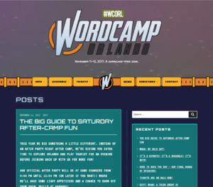 Screenshot of the top of WCORL 2017 site